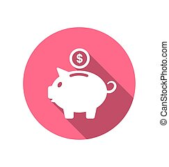 Flat icons of piggy bank concept, long shadow style