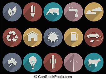 Flat Icons of web and mobile applications for ecology theme