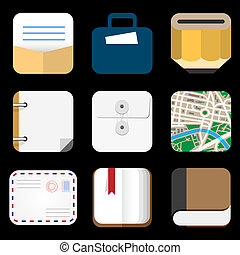 Flat Icons of web and mobile applications objects, business, office items. Vector collection