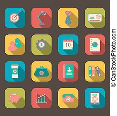 Flat icons of web design objects, business and office items, long shadow style
