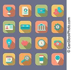 Flat icons of web design objects, business, office and marketing items, modern style with long shadow