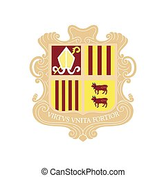 flat icons on theme coat of arms Andorra