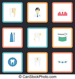 Flat Icons Orthodontist, Cleaned, Toothbrush And Other Vector Elements. Set Of Enamel Flat Icons Symbols Also Includes Braces, Seal, Treatment Objects.