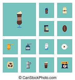 Flat Icons Package Latte, Latte, Arabica Bean And Other Vector Elements. Set Of Drink Flat Icons Symbols Also Includes Dispenser, Coffee, Percolator Objects.