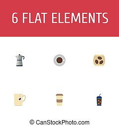 Flat Icons Package Latte, Mug, Saucer And Other Vector Elements. Set Of Coffee Flat Icons Symbols Also Includes To, Go, Capsule Objects.