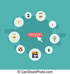 Flat Icons Package Latte, Plastic Cup, French Press And Other Vector Elements. Set Of Beverage Flat Icons Symbols Also Includes Beverage, Go, Coffeemaker Objects.
