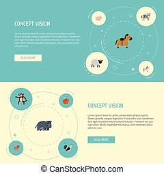 Flat Icons Panther, Rooster, Kine And Other Vector Elements. Set Of Zoo Flat Icons Symbols Also Includes Horse, Pony, Panther Objects.