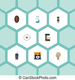 Flat Icons Paper Box, Timber, Beverage And Other Vector Elements. Set Of Coffee Flat Icons Symbols Also Includes Cappuccino, Latte, Milk Objects.