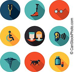 flat icons people with disabilities
