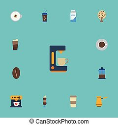 Flat Icons Plastic Cup, Paper Box, Coffeemaker And Other Vector Elements. Set Of Coffee Flat Icons Symbols Also Includes Pot, Cup, Turkish Objects.