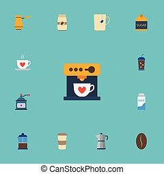 Flat Icons Plastic Cup, Sweetener, Coffeemaker And Other Vector Elements. Set Of Beverage Flat Icons Symbols Also Includes Turkish, Pocket, Pot Objects.