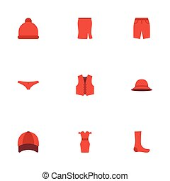 Flat Icons Pompom, Hosiery, Hat And Other Vector Elements....