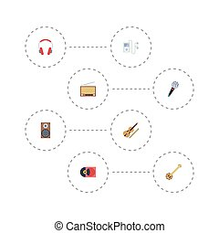 Flat Icons Radio, Mp3 Player, Fiddle And Other Vector Elements. Set Of Music Flat Icons Symbols Also Includes Banjo, Studio, Headphones Objects.