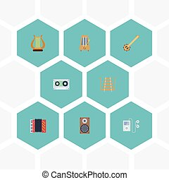 Flat Icons Rhythm Motion, Tape, Musical Instrument And Other Vector Elements. Set Of Melody Flat Icons Symbols Also Includes Accordion, Banjo, String Objects.