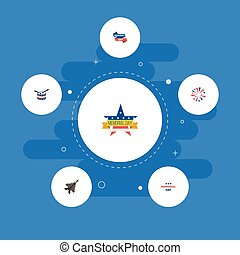 Flat Icons Ribbon, Musical Instrument, Aircraft And Other Vector Elements. Set Of Day Flat Icons Symbols Also Includes Sparklers, Banner, Firework Objects.
