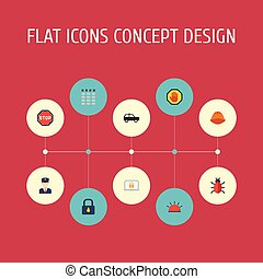 Flat Icons Road Sign, Padlock, Armored Car And Other Vector Elements. Set Of Procuring Flat Icons Symbols Also Includes Sign, Bug, Laptop Objects.