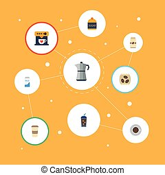 Flat Icons Saucer, Beverage, Coffeemaker And Other Vector Elements. Set Of Coffee Flat Icons Symbols Also Includes Sweetener, Cup, To Objects.