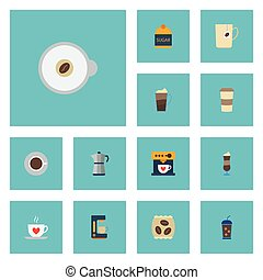 Flat Icons Saucer, Latte, Coffeemaker And Other Vector Elements. Set Of Coffee Flat Icons Symbols Also Includes Mocha, Go, Coffeemaker Objects.