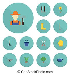 Flat Icons Scissors, Flowerpot, Rake And Other Vector Elements. Set Of Horticulture Flat Icons Symbols Also Includes Secateurs, Rubber, Tools Objects.