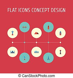 Flat Icons Seattle, London, Paris And Other Vector Elements....