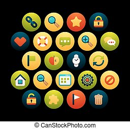 Flat icons set 1 - Flat icons vector set 1 - universal...