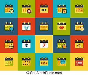 Flat icons set 16 - Flat icons vector set 16 - calendar...