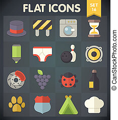 Flat Icons Set 16 - Universal Flat Icons for Web and Mobile...