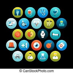 Flat icons vector set 19 - medical collection, for phone watch or tablet, isolated on black background