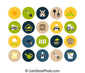 Flat icons set 26 - farm and farming