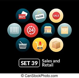 Flat icons set 39 - sales and retail collection