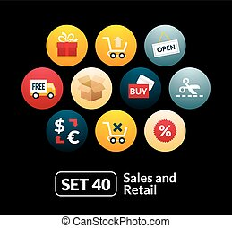 Flat icons set 40 - sales and retail collection
