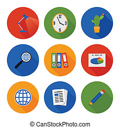 Flat Icons Set. Business Office. Vector
