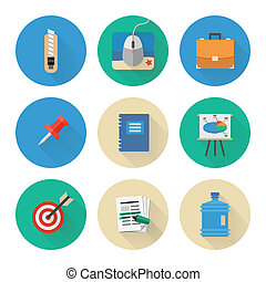 Flat Icons Set. Business Office. Vector Illustration
