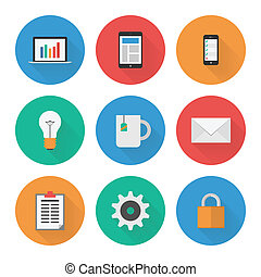 Flat Icons Set. Business. Vector