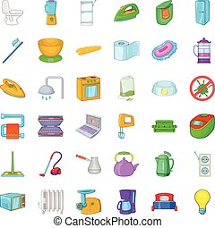 Flat icons set, cartoon style