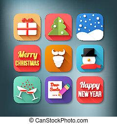 Flat icons set. Christmas theme