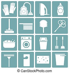 Flat icons set : Cleaning Objects,