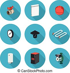 flat icons set heating