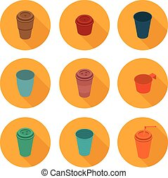 flat icons set isometric color plastic Cup