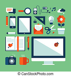 Flat icons set of business elements