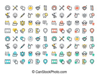 Flat icons set of dental services
