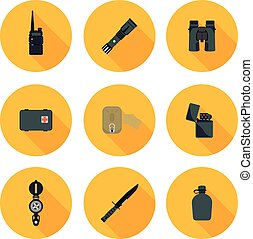flat icons set of survival