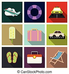 Flat icons set with long shadow effect of traveling on airplane, planning a summer vacation, tourism and journey objects and passenger luggage.