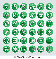 Flat Icons Social Network Round Set