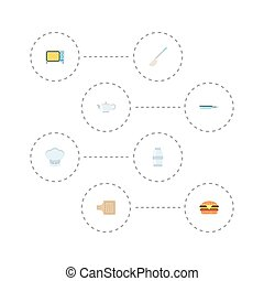 Flat Icons Soup Spoon, Electric Stove, Teapot And Other Vector Elements. Set Of Food Flat Icons Symbols Also Includes Board, Skillet, Frying Objects.