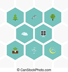 Flat Icons Sprout, Night, Wood And Other Vector Elements. Set Of Eco Flat Icons Symbols Also Includes Power, Panel, Photocell Objects.