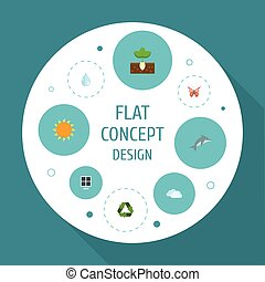 Flat Icons Sprout, Water, Playful Fish And Other Vector Elements. Set Of Eco Flat Icons Symbols Also Includes Solar, Drop, Playful Objects.