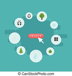 Flat Icons Sun Power, Water, Emperor And Other Vector Elements. Set Of Eco Flat Icons Symbols Also Includes Drop, Animal, Mill Objects.