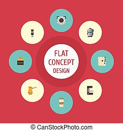 Flat Icons Sweetener, Espresso Dispenser, Mocha And Other Vector Elements. Set Of Drink Flat Icons Symbols Also Includes Saucer, Sugar, Dispenser Objects.