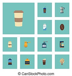 Flat Icons Sweetener, French Press, Arabica Bean And Other Vector Elements. Set Of Beverage Flat Icons Symbols Also Includes Iced, Grinder, Coffeemaker Objects.